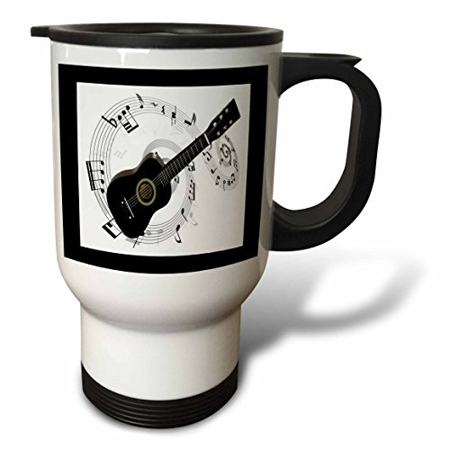 3dRose tm_50912_1 Music Notes and Guitar Travel Mug, 14-Ounc