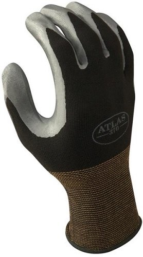 SHOWA Atlas 370B Nitrile Palm Coating Glove, Black, X-Large (Pack of 12 Pairs) by SHOWA