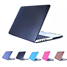"""YIYINOE - Retina 15 inch Ultralight Ultrathin Plastic + PU Leather Hard Case for Apple Macbook Pro 15.4"""" with Retina Display Models: A1398 Shell Cover + Clear Screen Protector BLACK"""