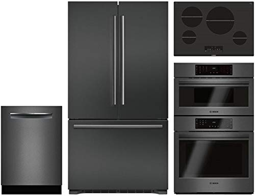 "Bosch 4 Piece Kitchen Package with B21CT80SNB 36"" French Door Refrigerator, NIT8068UC 30"" Electric Cooktop, HBL8742UC 30"" Electric Oven