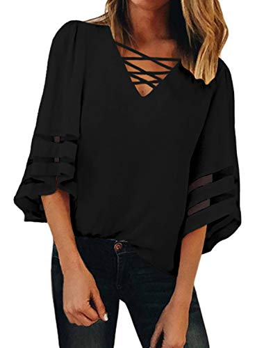 (Dearlove Women Ladies Strappy V Neck Casual Mesh Panel Blouse 3/4 Bell Sleeve Loose Top Shirt Solid Black X-Large)