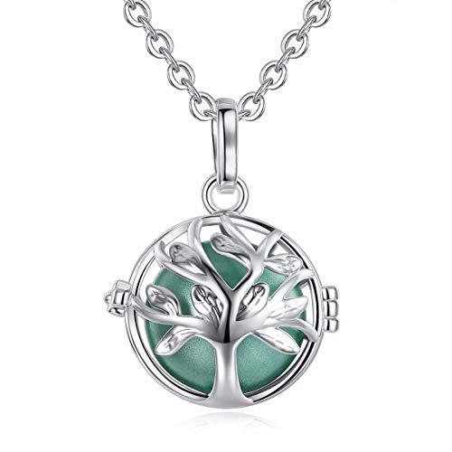 EUDORA Harmony Bola Tree of Life 18mm Pendant Pregnancy Necklace with 30'' Seagreen