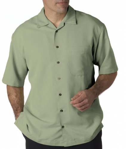UltraClub Men's Cabana Breeze Camp Shirt (Sage, Medium)