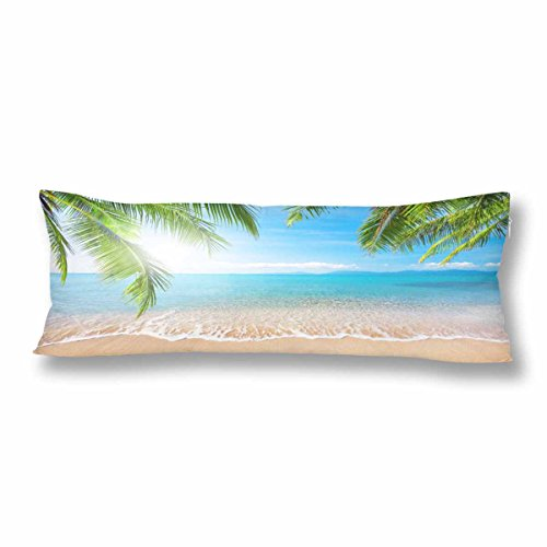 (InterestPrint Tropical Coconut Palm Tree Body Pillow Covers Pillowcase with Zipper 21x60 Twin Sides, Summer Nature Sea Ocean Beach Hawaii Body Pillow Case Protector for Home Couch Bedding Decorative)