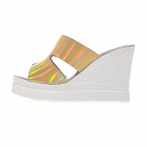 Gold sandali donna a oro Estate ZHZNVX Tacco cuneo Casual Comfort per argento Primavera Scarpe pelle 6FqF5wY