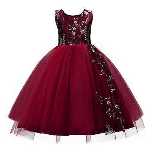 Wocau Little Baby Big Girl Flower Embroidery Sleeveless Wedding Tulle Party Dress (Burgundy, 7-8 Years)