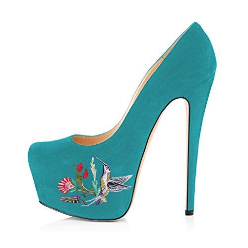 FSJ Women Trendy Pointed Toe Pumps Slip On Stilettos High Heels Dress Dancing Shoes Size 4-15 US Turquoise Bird Aq6YMgmNqn
