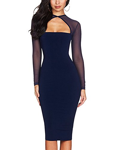 - Maketina Women Midi Length Cut Out Keyhole Party Bodycon Bandage Dress With Transparent Long Sleeves Blue M