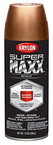 Krylon K08992000 SUPERMAXX All-In-One Spray Paint, Copper Metallic, 12 Ounce