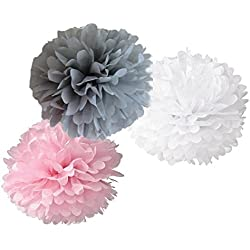 12pcs Mixed Pink Gray White Tissue Paper Flower Pom Poms