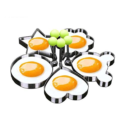 Eshop99 Egg Mold Ring Stainless Steel Egg Pancake Mold Ring Kitchen Utensil for Creative Breakfast 5 Piece Set--- Round, Heart, Flower, Five-Pointed Star and Mickey Mouse Shaped Egg Mold Ring (Mouse Mickey Round)
