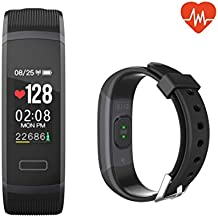 QIANXIANG Fitness Tracker,Sport Activity Tracker with Heart Rate/Sleep Monitor, Waterproof and Dustproof Bluetooth Smart Watch/Band/Bracelet with Calorie/Step Counter for Android & iOS Phones.