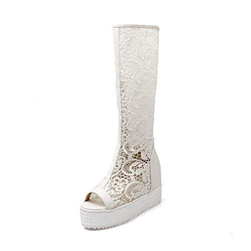AllhqFashion Women's Solid Blend Materials High Heels Open Toe Zipper Sandals White 9BcKL