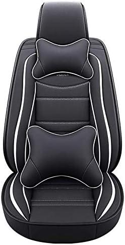 Asientos de auto de cuero de lujo para autom/óvil Cubiertas Juego completo de 5 asientos Universal Lujoso Negro-Amarillo