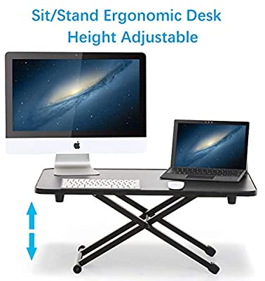 Adjustable Height Stand Steady Standing & Sitting Desk Converter for Health Benefits (2 layer large)