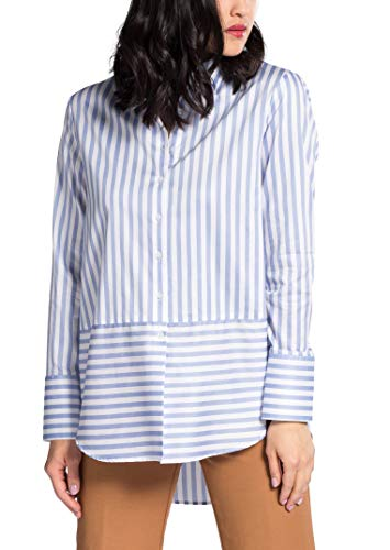 Striped Azzurro Sleeve Long Chiaro Blouse bianco Classic Modern Eterna XgwqR4