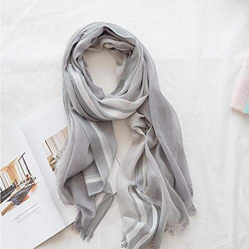 ENYI Women's Cotton and Linen Scarves Wild Striped Shawl Sun Protection Beach Towel, Size: 200x85cm (Color : E, Size : 200x85cm) by ENYI