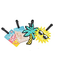 EOPER 4 Pieces Cute Summer Beach Series Luggage Tag Travel Suitcase ID Tags Label