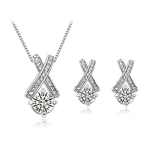 KAVANI 18K Crossing Silver Crystal Necklace Earrings Set Jewelry Unique Design for Girls Women - Juicy Full Diamond