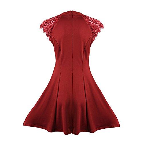 Sunnow Dentelle Sans Manches Des Femmes Patchwork Une Ligne Courte Mini Robe Casual Rouge