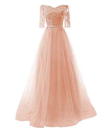 Ballkleid pink pfirsich Vickyben kleid Linie Damen Prinzessin Schnuerung langes A Tuell Party brautjungfer Abendkleid Cocktail r6nrWOgq