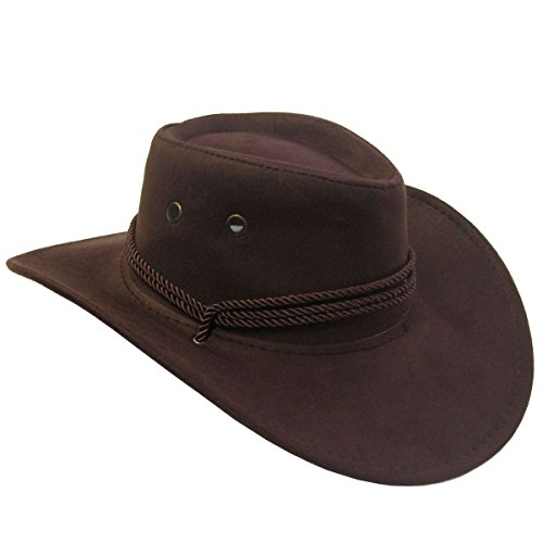 Jacobson Hat Company Men's Faux Suede Outback, Brown, (The Western Costume Company)