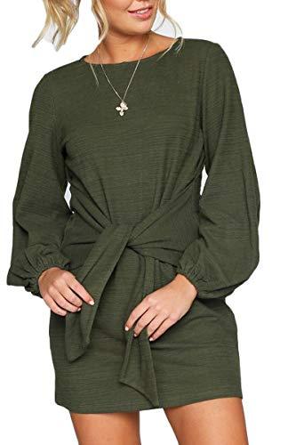 e6017b1ee48 Meyeeka Woman Plus Size Bohemian Mini Tee Shirt Dress Crewneck Tie Front  Casual Sundress
