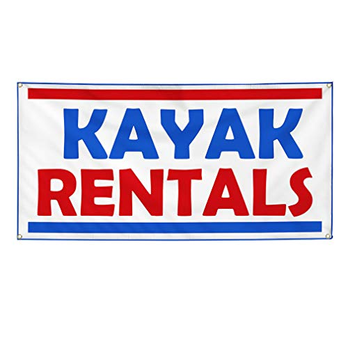 Vinyl Banner Sign Kayak Rentals Business Kayak Rentals Marketing Advertising Blue - 20inx50in (Multiple Sizes Available), 4 Grommets, One Banner