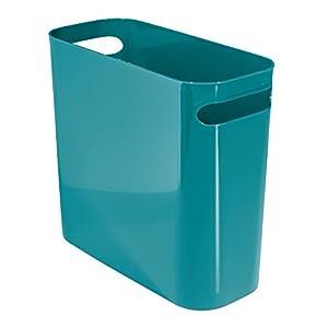 Mdesign plastic wastebasket trash can for for Teal bathroom bin