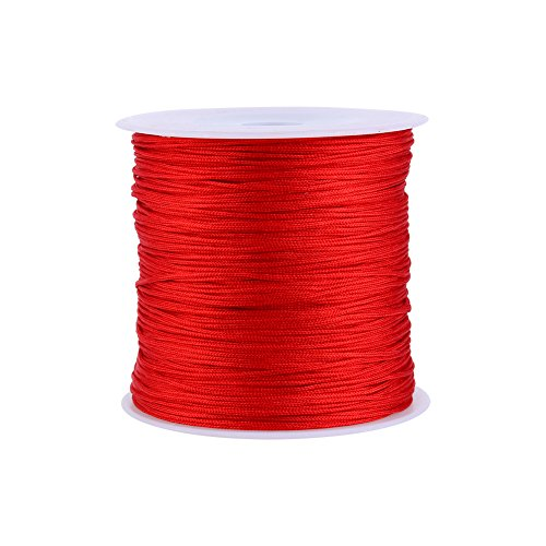 100M x 0.8mm Nylon Chinese Knot Cord Rattail Macrame Shamballa Thread String (Red)