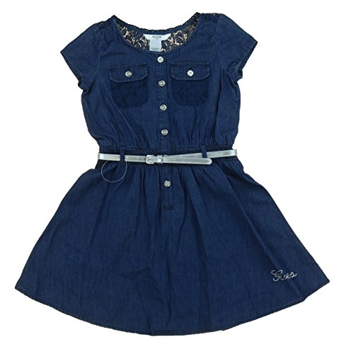 Guess Dark Denim Wash Dress w Lace Upper Back Detail and Silver Belt (Size - Guess Store Outlet