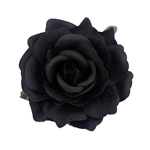 Rose Flower Hair Clips Flower Brooch Pin Hairpin for Women NFJ03 (Black)