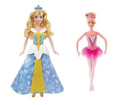 Sleeping Beauty Ballerina (Disney Princess CHB13 Magic Dress Sleeping Beauty Doll and Asst CGF30 Style 32 Ballerina Princess Aurora Doll bundle for Children's Room Decor)