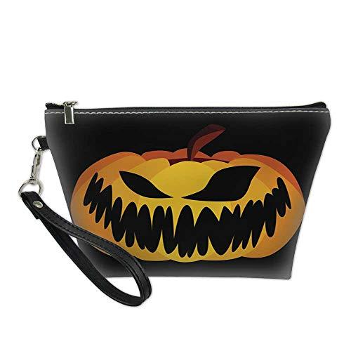 bag for makeupportable cosmetic bagIsolated Vector Yellow Orange Festive Scary Halloween Pumpkin 8.5