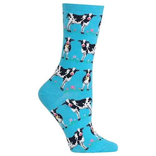 (Hot Sox Women's Animal Series Novelty Casual Crew Socks, Cows (Light Turquoise), Shoe Size: 4-10 Size:)