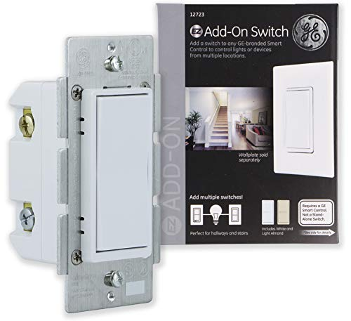 Almond Decor - GE Add-On Switch only for GE Z-Wave, GE ZigBee and GE Bluetooth Wireless Smart Lighting Controls, NOT A STANDALONE SWITCH, Incl. White & Light Almond Paddles, 12723, Works with Alexa
