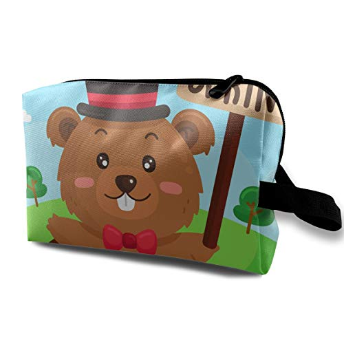 (LEIJGS Cartoon Cute Gopher Signaling Spring Small Travel Toiletry Bag Super Light Toiletry Organizer for Overnight Trip Bag)