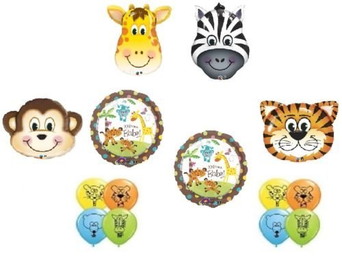loonballoonベビーシャワージャングル動物園Safari Zebra Monkey Tiger Giraffe 14パーティーバルーンセットB   B01FTXO3JQ