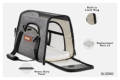SLEEKO Luxury Pet Carrier Airline Approved Premium Under Seat Compatibility for Dogs and Cats - Soft Sided Portable Airplane Tote Bag Backpack with 2 Fleece Pads and Storage Case