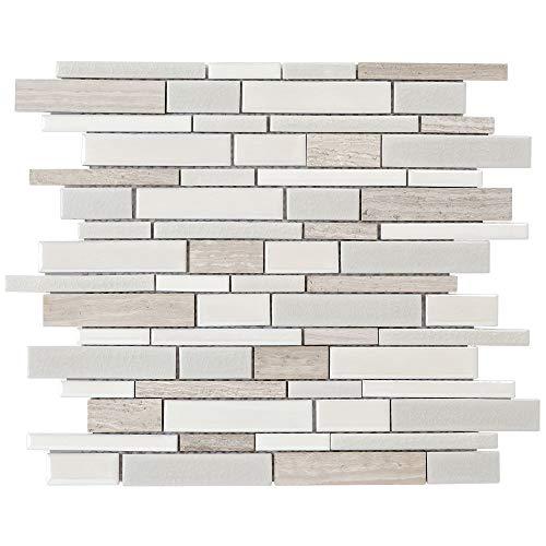 (MTO0199 Modern Linear White Glazed Stone Ceramic Mosaic Tile)