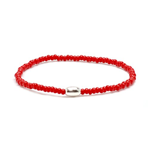 Glass Bead Bracelet Red (Asortis Men's Sterling Silver Seed Bead 3mm Stretch Bracelet (Red))