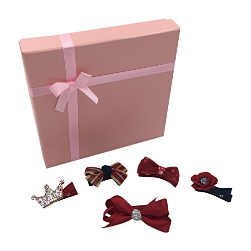 PeiLan 5 Pcs Baby Girl Hair Clip Accessories Set with Gift Box - Bows Flower Crown (Red Wine)
