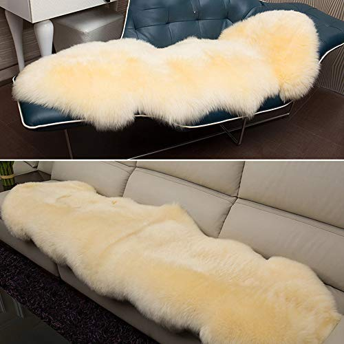 bedee Faux Sheepskin Rugs, Faux Fleece Chair Cover Seat Pad Soft Fluffy Shaggy Area Rugs For Bedroom Sofa Floor (Cream, 60x160cm)