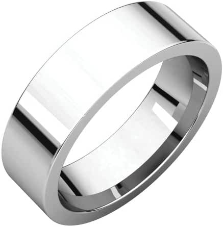 Platinum 6mm Flat Comfort Fit Band, Ring Size 7