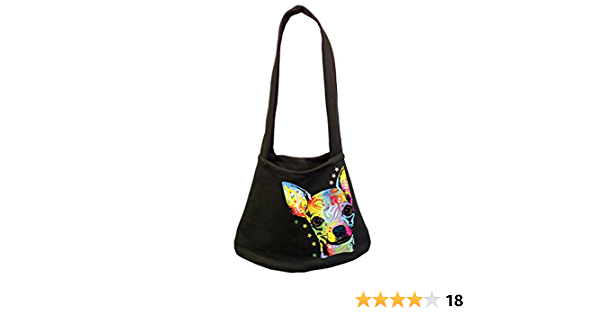 Long Haired Chihuahua Bag Metallic Gold  Silver  Red Chihuahua Silhouette Black Shoulder Bags Dog Walkers Gift  Zipped pocket on back.