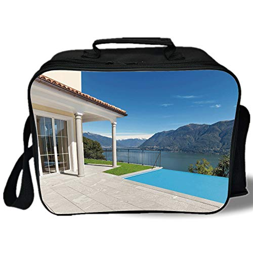 Italian Decor 3D Print Insulated Lunch Bag,Lake Maggiore Swedish Alps View Terrace of a House Mountains,for Work/School/Picnic,White Blue and Sky Blue