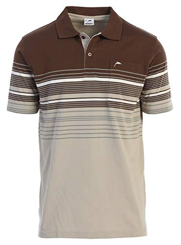 Gioberti Mens Slim Fit Striped Polo Shirt with Pocket, Khaki with Dolphin Logo, Large