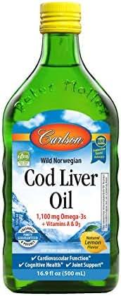 Carlson - Cod Liver Oil, 1100 mg Omega-3s, Liquid Fish Oil Supplement, Wild-Caught Norwegian Arctic Cod-Liver Oil, Sustainably Sourced Nordic Fish Oil Liquid, Lemon, 500 ml