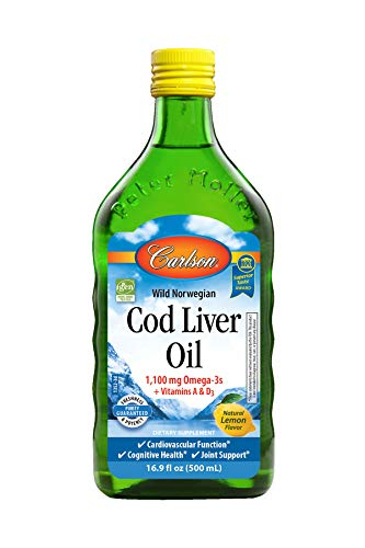 Off Liver - Carlson - Cod Liver Oil, 1100 mg Omega-3s, Wild Norwegian, Sustainably Sourced, Lemon, 500 ml