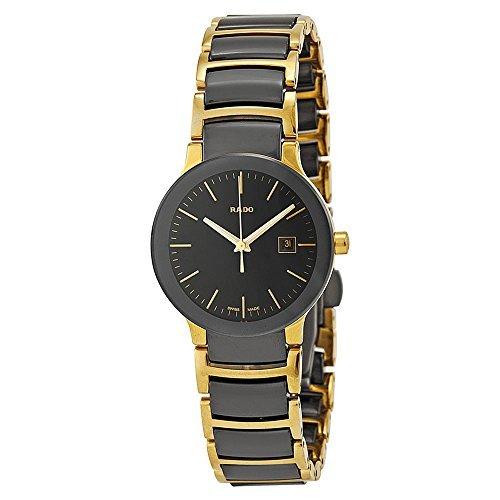 Rado-Centrix-Black-Dial-Yellow-Gold-PVD-Black-Ceramic-Ladies-Watch-R30930152-by-Rado